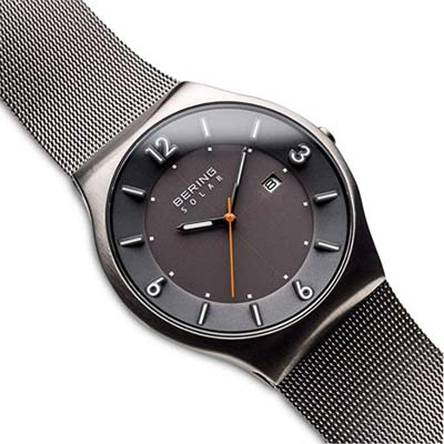 Oblique view of the Bering men's watch with solar function in silver slim design